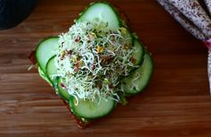 Open Face Sprout Avocado Cucumber Sandwich (Quick & Easy!!)