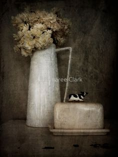 'Daffodils and Butter Dish ' by Kim-maree Clark Framed Prints, Canvas Prints, Art Prints, Buttercup, Butter Dish, Daffodils, Art Boards, Texture, Metal