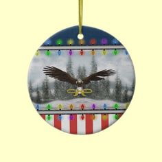 USA Patriotic Eagle Round Christmas Ornament by XG Designs NYC. $18.75 #patriotic #ornament #christmas