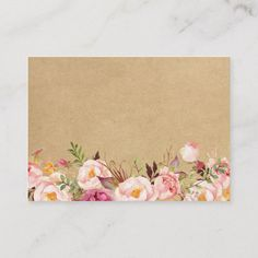 Shop Classy Rustic Floral Kraft Wedding Insert Card created by CardHunter. Nautical Theme Decor, Coastal Decor, Paper Crafts Origami, Cat Crafts, Business Card Size, Bujo, Wedding Cards, Paper Texture, Place Cards