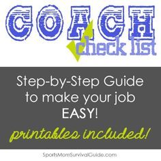 If you coach any sport, these simple tips will make your coaching job much easier! Enjoy these helpful hints  for a smooth running season!