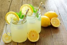 "No lie. Every year we make gallons of this lemonade for local charity fundraising events, and the response from those that drink this lemonade is ""This is the b Diet Drinks, Healthy Drinks, Beverages, Refreshing Drinks, Summer Drinks, Classic Lemonade Recipe, Flavored Ice Cubes, Best Lemonade, Health Research"