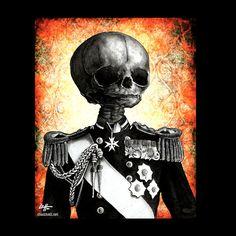 Print 8x10  The General of Death  Skull Skeleton King by chuckhodi
