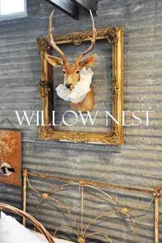 I really like the idea of whimsical animals in pretty, fancy collars, like this dainty deer on the wall!  :)  -KWA
