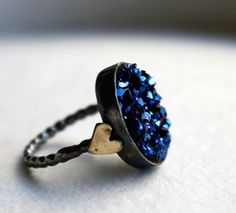 Blue Drusy with Hearts Ring by Rachel Pfeffer