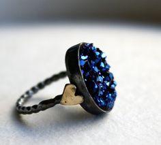 Blue Drusy with Hearts Ring by Rachel by RachelPfefferDesigns