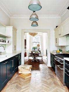 Eclectic Timeless Kitchen With Blue Cabinets