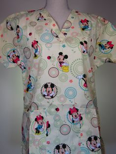#caringplus scrub top - Mickey & Minnie Mouse Yellow - CaringPlus scrubs and uniforms - workwear clothing for nurses, caregivers and other healthcare professionals. Perfect apparel for doctor's, dental and optician offices, nursing homes, rehab centers, vet clinics, animal hospitals, or medical labs.