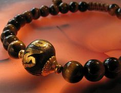 Tigers Eye Bracelet Mala Prayer Beads with Om Mani Padme Hum