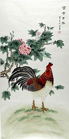 China ink watercolor painting home decor original peony flower rooster PMHY