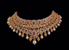 Uncut diamond Bridal Choker necklace from Vasundhara specially crafted with uncut diamonds, Nakshi Gold Balls, color stones and south sea pearls Diamond Choker, Diamond Bracelets, Diamond Jewellery, Diamond Pendant, Diamond Rings, Gold Choker, Gold Bangles, Gold Jewellery Design, Gold Jewelry