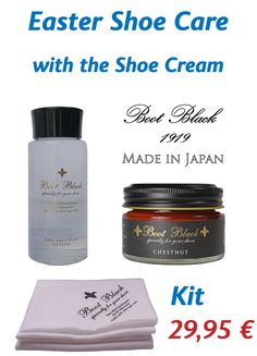 Easter shoe care offer in the Shoe Shine Shop Boot Black Shoe Cream HIGH-END shoe care, Made in Japan Cream Boots, High End Shoes, Face Lotion, Japan, Boot Shop, Black Boots, Easter, How To Make, Shopping