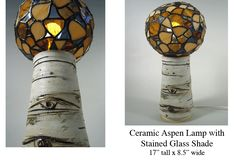 """Jamie E. Hatch. Stained glass and ceramic aspen lamp. 17"""" tall x 8.5"""" wide."""