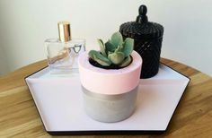 Mini concrete planter pastel- pink and silver - handmade by Amelayna Designs