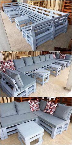 Pallet Furniture Blueprints, Pallet Furniture Sofa, Diy Pallet Couch, Diy Outdoor Furniture, Furniture Projects, Diy Furniture, How To Build Pallet Furniture, Pallet Couch Outdoor, Palette Furniture