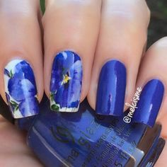1Sheet Nail Sticker Full Nail Wrap Water Decals Transfer Sticker Romantic Blue Painting Flower Pattern XF1405 # 16259