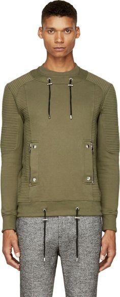 Balmain - Khaki Ribbed Sweatshirt