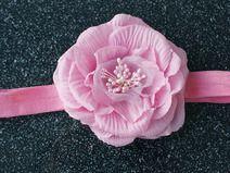 """Mädchen  Haarband """" Stirnband mit Rosa Blume."""