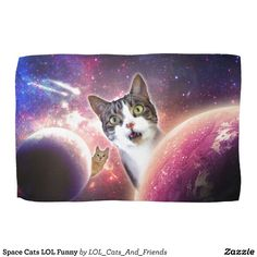 Space Cats LOL Funny Towel. Kitchen Towel - Brighten up any kitchen with a set of custom kitchen towels.