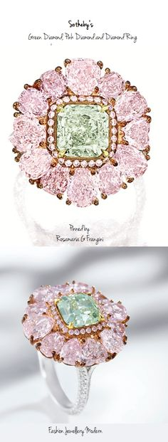 High Jewellery Modern | TJS | Rare Fancy Green Diamond, Pink Diamond and Diamond Ring, Sotheby's |