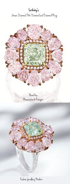 Rare Fancy Green Diamond, Pink Diamond and Diamond Ring, Sotheby's | Fashion Jewellery Modern | Rosamaria G Frangini