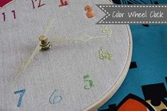 DIY Embroidered Color Wheel Clock