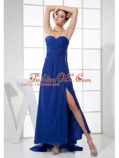High Slit Sweetheart Neckline Watteau Train Blue Chiffon prom dress