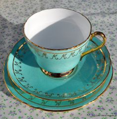Duck Egg Blue Shelley Vintage Bone China Trio