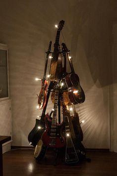 So cool! A musical Christmas tree! #guitars #christmas