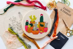 Embroidery Kit by Walker Boyes Embroidery Kits, Cactus, Neutral, Bloom, Wisdom, Party, Cactus Plants, Receptions, Parties