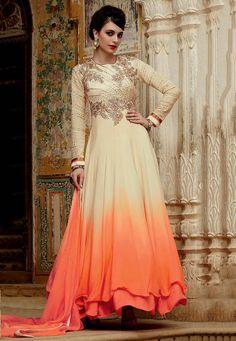 Buy Embroidered Art Silk Abaya Style Suit in Beige and Saffron online, work: Embroidered, color: Beige / Saffron, usage: Wedding, category: Salwar Kameez, fabric: Art Silk, price: $115.61, item code: KUF8791, gender: women, brand: Utsav