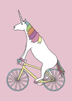 Line Draw | Unicorn Riding Bike With Unicorn Horn Spoked Wheels 5x7 Print | Online Store Powered by Storenvy