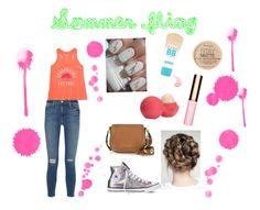 """Summer Fling"" by cathleendesigns on Polyvore featuring Aéropostale, Converse, Frame Denim, Michael Kors, Maybelline, Rimmel, Eos and Clarins"
