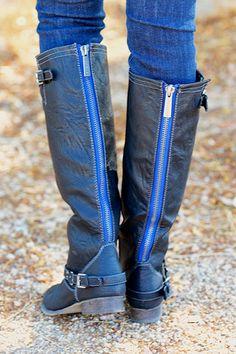 To Die For Black Boots - Blue Zipper Low Heel Boots, Shoe Boots, Shoe Boutique, Candy Boutique, Brown Boots, Black Boots, Country Girl Boots, Boots With Leg Warmers, Toms