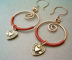 Circle Earrings Copper and Heart  Handmade Copper by GearsFactory, €14.00