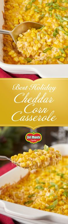 Cheddar Corn Casserole: Nothing says holiday quite like cheesy, gooey goodness! Our Cheddar Corn Casserole comes together in just 10 minutes and is an easy addition to your special dinner table. Full of sweet, crisp Del Monte® Whole Kernel Corn, silky cream cheese and sharp, melted cheddar, it's perfect to serve alongside your main event. Have heaps of leftover ham or turkey? Toss 'em in! Just dice up your protein and combine with the corn casserole for a quick way to remix your dish!