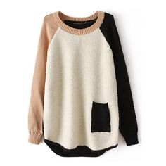 Color Block Pocketed Cream Jumper ($28) ❤ liked on Polyvore featuring tops, sweaters, shirts, jumpers, jumpers sweaters, cream shirt, shirts & tops, jumper top and cream jumper