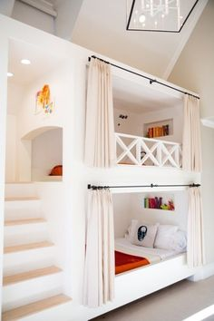 12 Inspirational Examples Of Built-In Bunk Beds. 12 examples of bedrooms with built-in bunk beds. Most bunk beds are standalone, but these 12 bedrooms all have built-in bunk beds to make the most of the available space and for a more seamless look. Bunk Beds For Girls Room, Bunk Bed Rooms, Bunk Beds Built In, Modern Bunk Beds, Bunk Beds With Stairs, Cool Bunk Beds, Adult Bunk Beds, Teen Bunk Beds, Bunk Bed Curtains