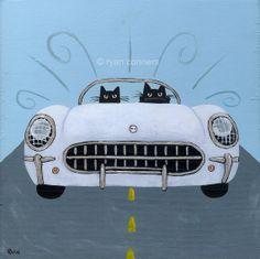 53 Corvette Road Trip Cats Folk Art Digital by KilkennycatArt