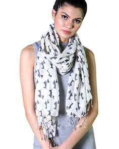 Anika Dali Bella Doxie Dachshund Dog Scarf, Animal Lover Shawl (Black, Off-White) at Amazon Women's Clothing store: