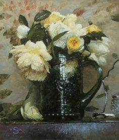 Oil Painting For Beginners, Oil Painting For Sale, Painting Prints, Painting Classes, Floral Paintings, Oil Paintings, Rose Art, Fashion Painting, Yellow Roses