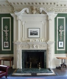 1 Greek Street, House of St. Barnabas, Soho, London, with plaster-work and decoration. Marble Fireplace Mantel, Marble Fireplaces, Fireplace Surrounds, Fireplace Design, Classic Fireplace, European Home Decor, Interior Decorating, Interior Design, Classic Interior