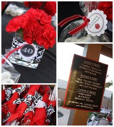 Black Red and Silver 40th Birthday Party For Him Birthdays