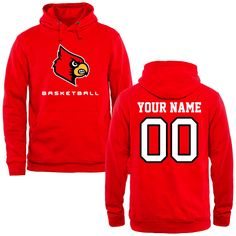 Louisville Cardinals Personalized Basketball Pullover Hoodie - Red - $69.99