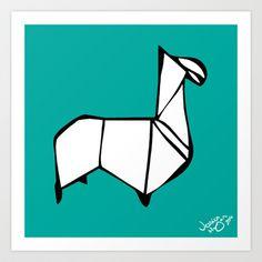 Origami Llama [Origami Series] Art Print by Jessica Morgan
