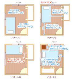 睡眠効果UP!ベッドの最適な配置(レイアウト)とは?   アイリスプラザ_メディア Small Room Interior, Small Space Bedroom, Home Decor Bedroom, Home Living Room, Room Inspiration, Interior Inspiration, Japanese Apartment, Japanese House, Minimalist Decor