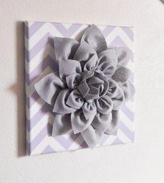 "Wall Flower -Gray Dahlia on Lilac and White Chevron 12 x12"" Canvas Wall Art- Baby Nursery Wall Decor-. $34.00, via Etsy."