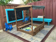 Sand box and chalk board in out back yard play area!