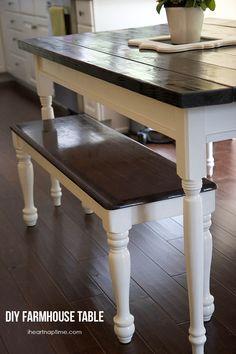 DIY farmhouse kitchen table on iheartnaptime.com