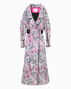 Splashed Pattern Jacquard Coat - pink